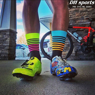 New DH Sport Cycling Socks Men Women Professional Breathable Sports Bike Socks