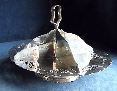 "SUPERB 10"" ~ SILVER Plated ~ ART DECO ~ Sandwich / Cake BOWL ~ c1935"
