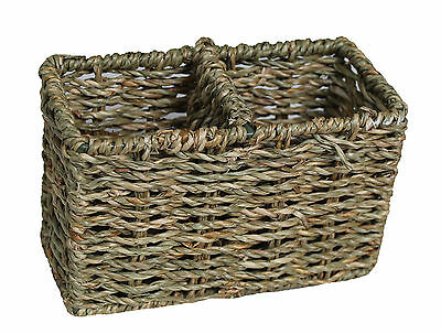 Two Section Narrow Seagrass Basket Divided Cutlery Desk Tidy Condiments Pens