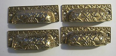 4 Vintage Cast Brass Drawer Bin Pulls Finger Cup Shell Style Nice Raised Design