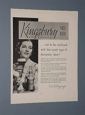 1934 Kingsbury Pale Beer Ad Kingsbury Breweries Manitowoc, Wisconsin