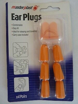Foam Ear Plugs 4 sets with Carry Case. Travel ear plugs. Sleeping Aid Snoring
