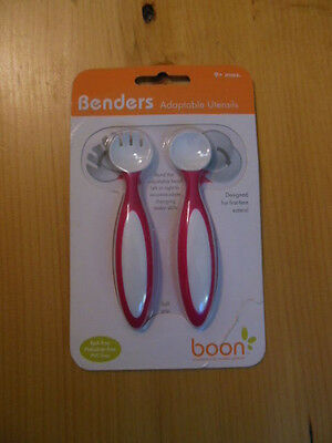 BOON Benders Adaptable Fork & Spoon For Baby Girl Pink *NIP*
