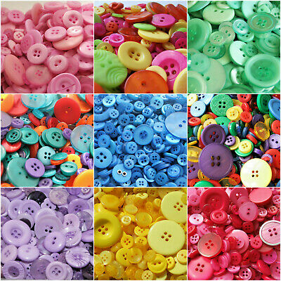 Assorted acrylic buttons - choice of colours for sewing, crafts, scrapbooking