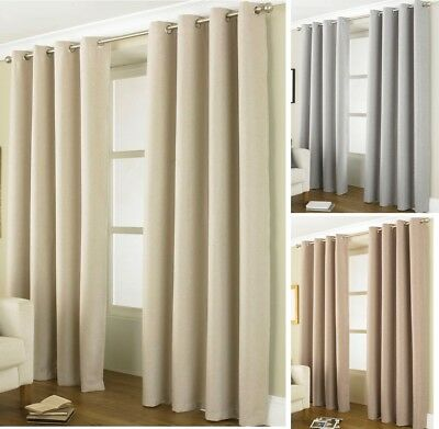 Thermal RING TOP EYELET Blackout PAIR Curtains Ready Made Lined Energy Saving