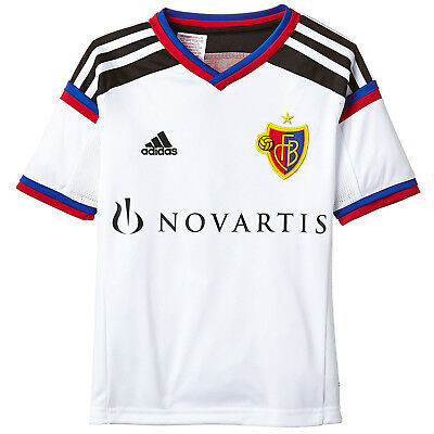 adidas Performance Boys FC Basel Away Football Soccer Jersey Shirt Top - White