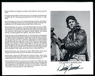 Sidney Woods DECEASED WWII Fighter Pilot Ace-7V Signed 8x10 Bio Photo T2464
