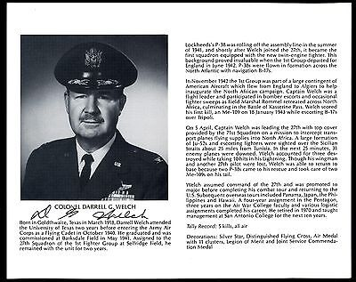 Darrell Welch DECEASED WWII Fighter Pilot Ace-5V Signed 8x10 Bio Photo T2452