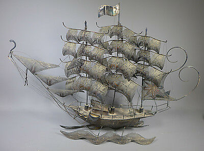 Large Vintage Maltese Solid Silver Galleon Ship 12.75 Troy Ounces 387G