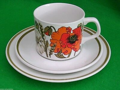 J & G MEAKIN 'Poppy' Tea/Coffee Cup Saucer & Plate Set Trio True Vintage 1970s