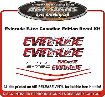 EVINRUDE E-TEC Canadian Edition Decal kit  115 135 150 175 200 225 250 hp etec