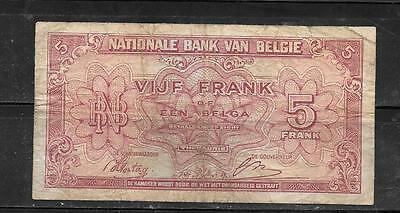 Belgium #121 1943 Vg Used 5 Francs Old Wwii Banknote Paper Money Currency
