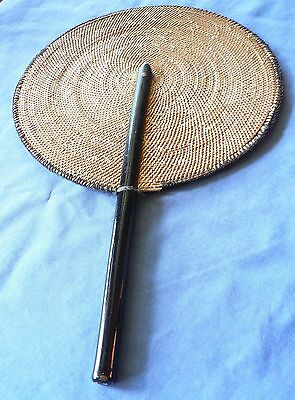 Antique Woven Fan with Black Enameled Handle - Post WWII Era, Japan