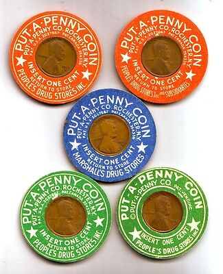5 Different Encased 1916S Cents in cardboard, Rochester NY Put-A-Penny Co.