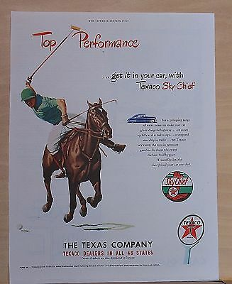 1948 magazine ad for Texaco - Polo player on horse swings at ball, performance