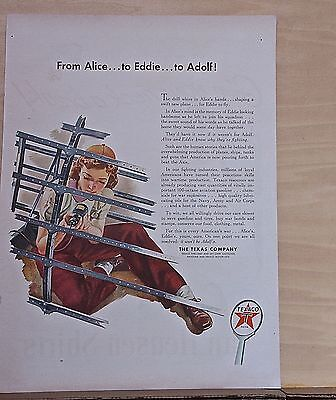 1943 magazine ad for Texaco - Rosie the Riveter woman war worker, WW2 ad