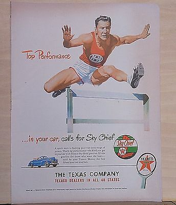 1948 magazine ad for Texaco - Track star jumps hurdle, Top Performance