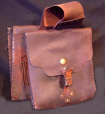 "Vintage 15.5 x 13"" Antique Primitive Old West Era Saddlebags Saddlebag"