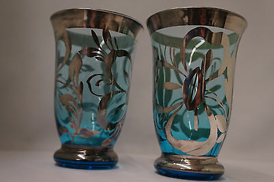 Antique Blue Glass Sterling Silver Overlay Tumblers