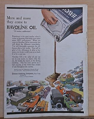 1920's magazine ad for Havoline oil - vintage cars and giant can of Havoline