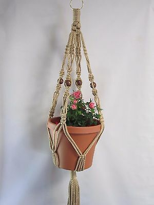 MACRAME PLANT HANGER 30 in Vintage Crown Style Sand 6mm Cord BEADED CHOOSE COLOR