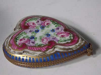 LIMOGES FRANCE HAND PAINTED HEART TRINKET BOX PEINT MAIN Engagment Ring