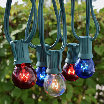4th Of July Patio String Light Sets Red, White, & Blue Hanging Lighting Summer