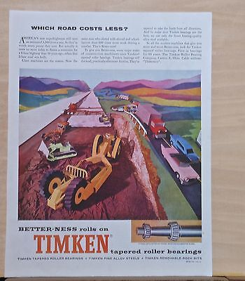 1959 magazine ad for Timken Bearings - outstanding auto performance, colorful