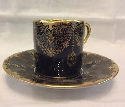 Antique Rosenthal Cobalt Gold Enamel Beaded Porcelain Demitasse Cup & Saucer