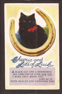 """Bamforth Lucky Black Cat Comic. """"Cheerio and Lots of Luck"""""""