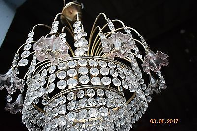OLD  FRENCH CRYSTAL  CHANDELIER GLASS BELLS  c1940  STUNNING
