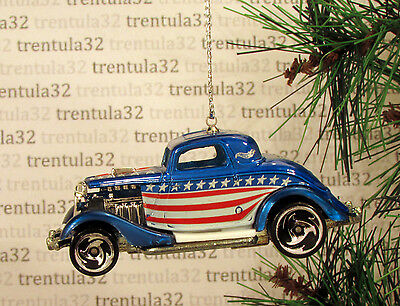 Red White & Blue 3-Window '34 Ford Coupe 1934 Christmas Tree Ornament Xmas