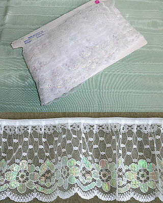 Gathered Lace White Crystal 2231 x 5mts