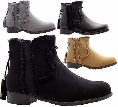 538bd74b522 Ladies Womens Flat Block Heels Chelsea Gusset Casual Bow Office Boots Shoes  Size