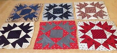 Six Antique Patchwork Quilt Blocks, Early Fabrics, Bear Paw, Black, Red, Navy