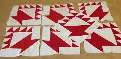 Seven Antique Patchwork Quilt Blocks, Early Fabrics, Red And Off White, Basket