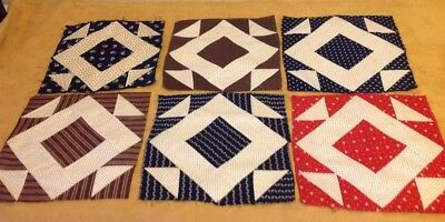Six Antique Patchwork Quilt Blocks, Early Fabrics, Hole In The Barn Door, Multi