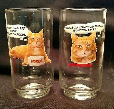 Two Morris the Cat 9-Lives Drinking Glasses