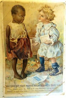 Antique Fairy Soap Trade Card White Girl Scolding Black Child for Not Washing