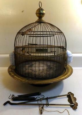 Antique Hendryx Brass Bird Cage w 2 Dishes, Droppings Guard, Wall Bracket c1930s