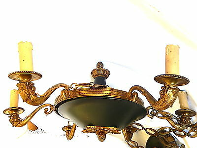 Large Superb Chandelier Style Empire 6 Lamp Shaped Dauphin Bronze And