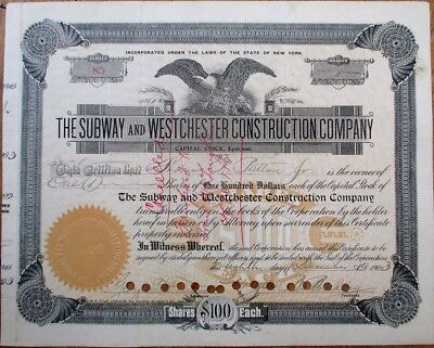 Subway & Westchester Construction 1903 New York City Railroad Stock Certificate