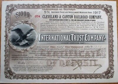 Cleveland & Canton Railroad Co. 1895 Bond Certificate to International Trust Co.