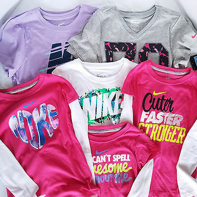 Lot of 8 NWT Girls Nike T Shirts Short Long Sleeve 6 6x M L Wholesale Resale