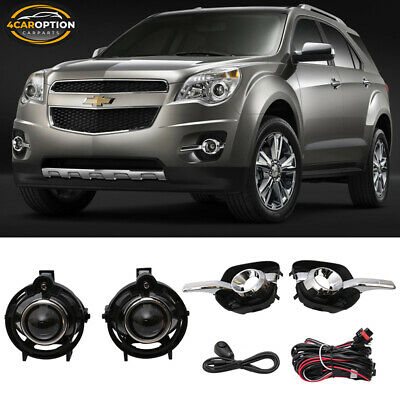 Fits 10-16 Chevy Equinox Front Projector Fog Lamp Foglight Pair LH RH Clear Lens