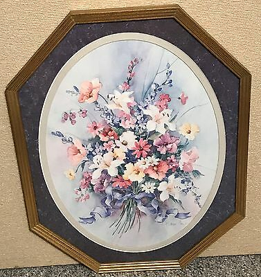 Homco Home Interiors Picture Vibrant Colored Flowers Barbara Mock Artist VGC