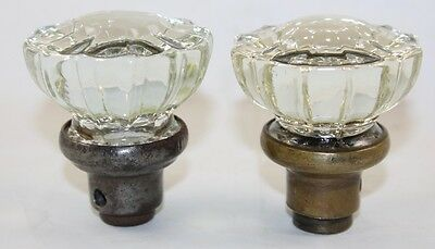 2 Vintage Crystal Glass 12 Point Door Knobs with Metal / Brass Collars / NR