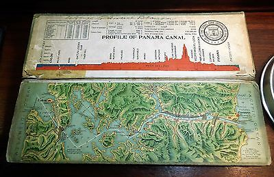 1911 Souvenir Model Of The Panama Canal Raised Relief Map I.L Maduro, Jr 21286