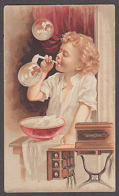 Domestic Sewing Machine A Warnekros Fresno CA trade card 1880s blowing bubbles