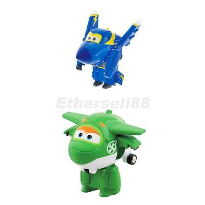 Pack of 2 Super Wings Transforming Plane Model Toys Animation Figures Gifts